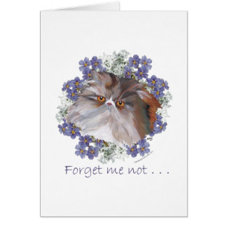 Calico Persian Cat Forget-Me-Not Card