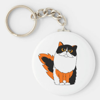 Calico Persian Cat Keychain