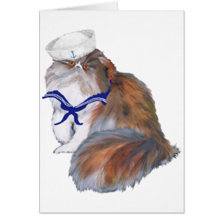 Calico Persian Cat Sailor Card