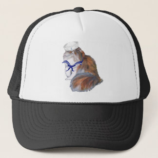 Calico Persian Cat Sailor Trucker Hat