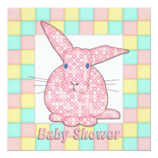 Calico Pink Bunny  on Pastel Squares Shower B Card