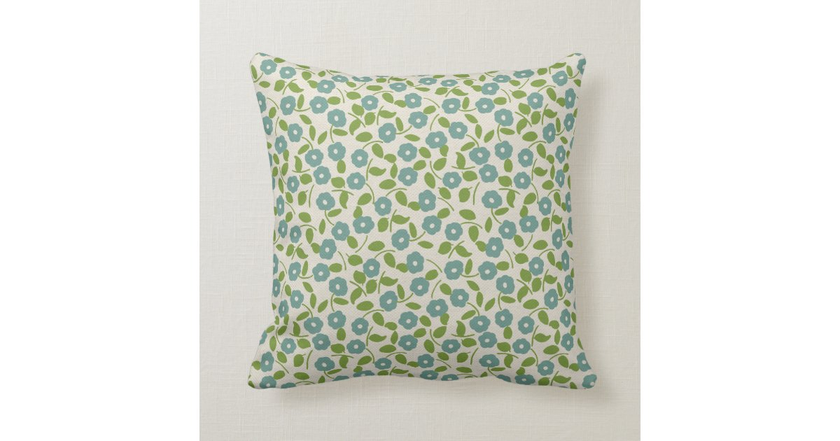 Cream Floral Throw Pillows : Calico Print Floral Pattern Blue Green Cream Throw Pillow Zazzle