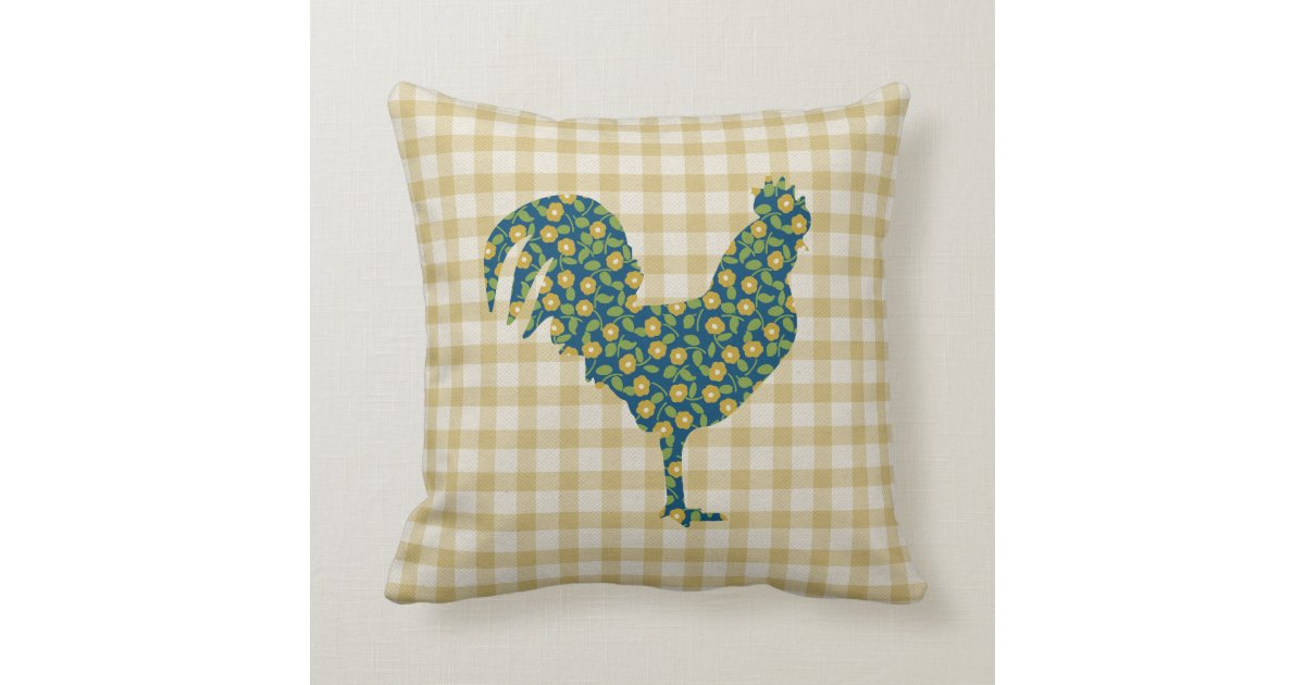 Calico Rooster Gingham Pattern Blue Yellow Green Throw Pillow Zazzle