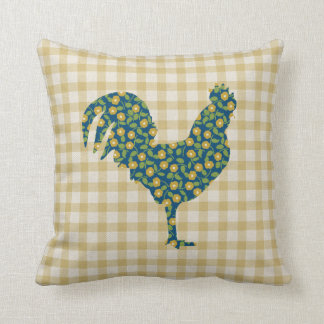 Calico Rooster Gingham Pattern Blue Yellow Green Throw Pillows