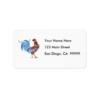 Calico Rooster with Shiny Tail Feathers Label