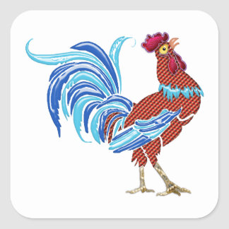 Calico Rooster with Shiny Tail Feathers Square Sticker