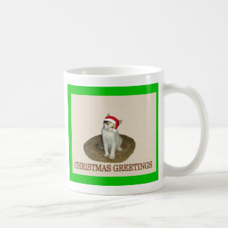 Calico Santa Christmas Greetings Coffee Mug