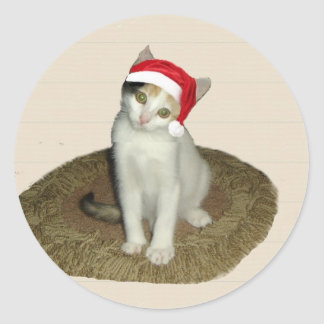 Calico Santa Christmas Greetings Sticker