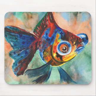Calico Telescope Eye Goldfish mousepad