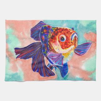 Calico Veiltail Goldfish kitchen/hand towel