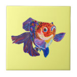 """Calico Veiltail Goldfish on yellow tile<br><div class=""""desc"""">Image is coming from my original watercolour painting.</div>"""