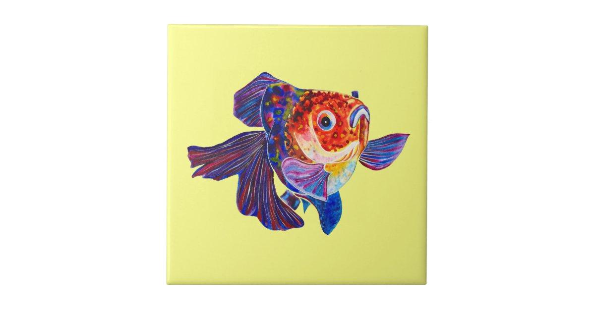 Calico Veiltail Goldfish on yellow tile | Zazzle.com