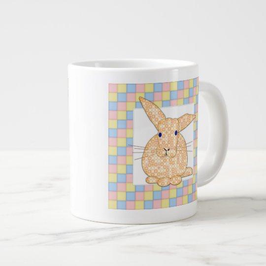 Calico Yellow Bunny on Pastel Checkerboard Giant Coffee Mug