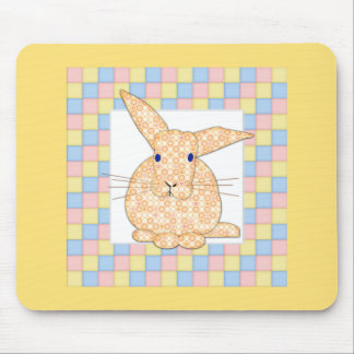 Calico Yellow Bunny on Pastel Checkerboard Mouse Pad