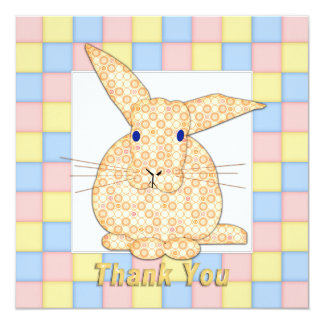 Calico Yellow Bunny  Pastel Checkerboard Thanks B Card
