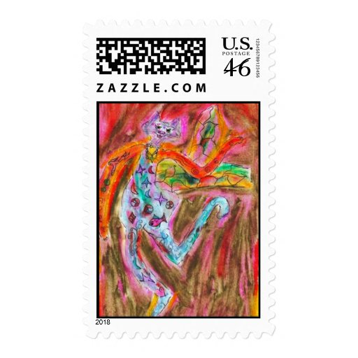 CalicoCat goes Fishing copy Postage Stamps