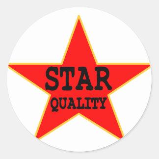 Calidad de la estrella pegatina redonda