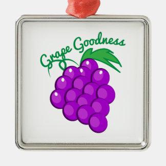 Calidad de la uva adorno cuadrado plateado