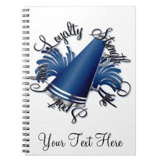 Calidades azules y de plata de la alegría libreta espiral