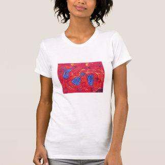 Caliente Camisa-rojo de la camiseta del escote Poleras