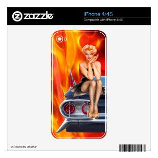 Caliente llameante calcomanía para iPhone 4S