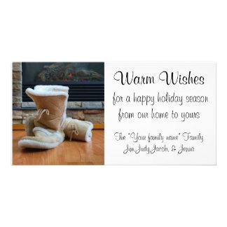 Caliente los deseos - botas por la chimenea tarjeta fotográfica personalizada
