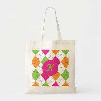Caliente palidezca - el damasco rosado, verde y az bolsa