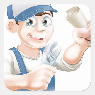 Calificación del fontanero o del mecánico calcomania cuadradas
