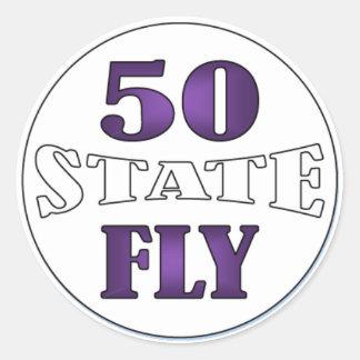 Calificador del estado - mosca 50 pegatina redonda