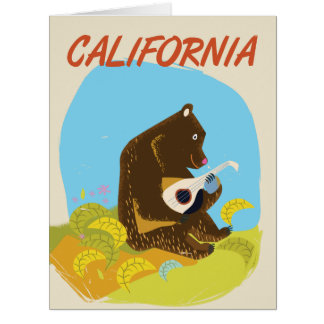 Californai Bear vintage cartoon travel poster Card