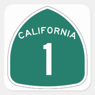 California 1 pegatina cuadrada