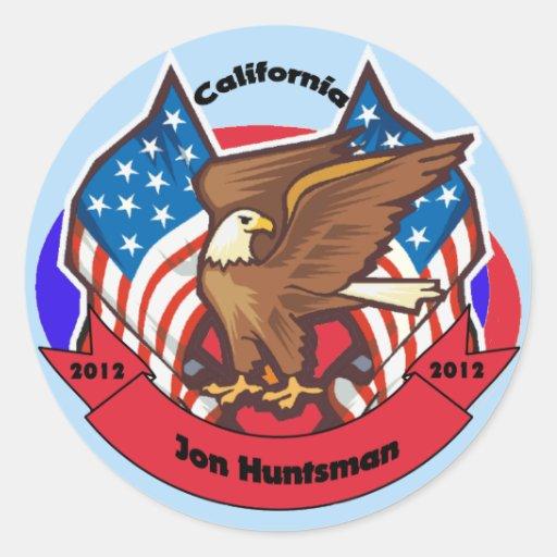 California 2012 para el Huntsman de Jon Pegatina Redonda