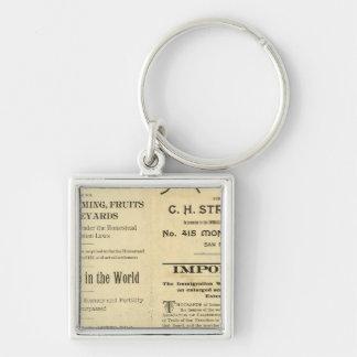 California 2 Silver-Colored square keychain