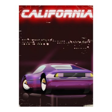 USA Themed California 80's neon Supercar poster