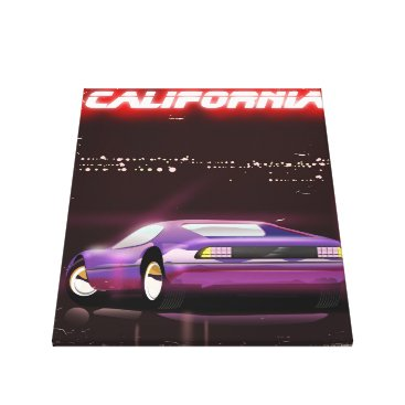USA Themed California 80's neon Supercar poster Canvas Print