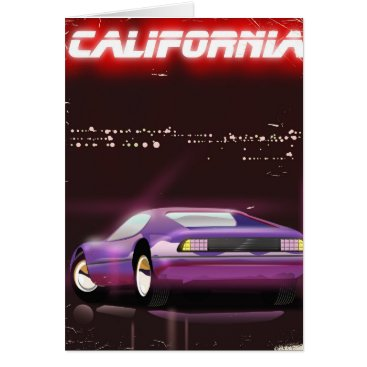 USA Themed California 80's neon Supercar poster Card