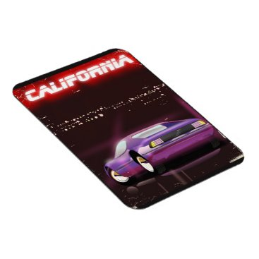 USA Themed California 80's neon Supercar poster Magnet