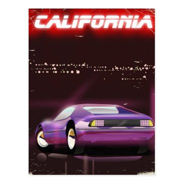USA Themed California 80's neon Supercar poster Postcard