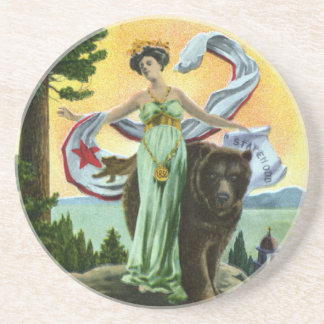 California Admission Day Festival Woman with Bear Coaster