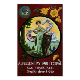 California Admission Day Festival Woman with Bear Poster