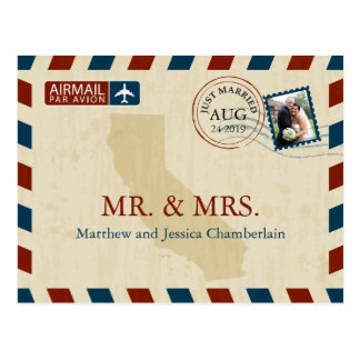 California Airmail | Wedding Thank You Postcard