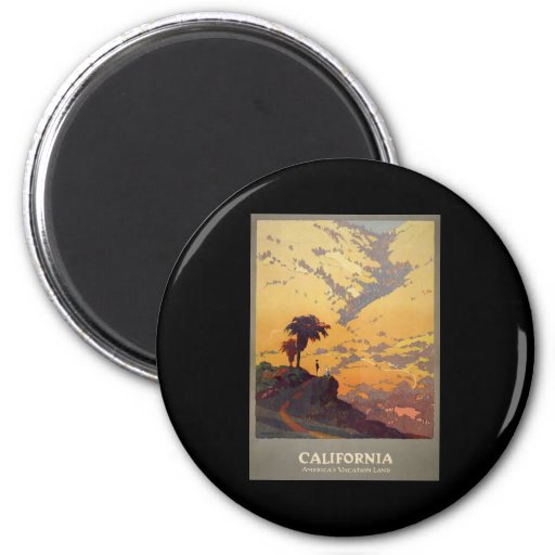 California America's vacation land 2 Inch Round Magnet
