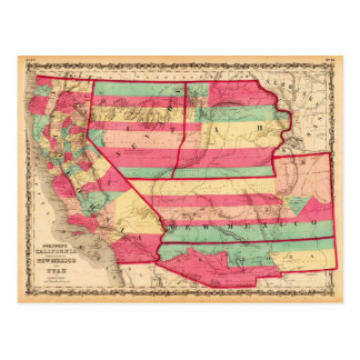 California and the New Mexico and Utah Territories Postcard