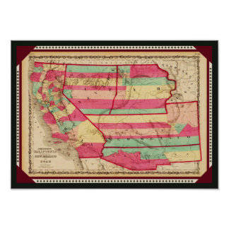 California and the New Mexico and Utah Territories Print