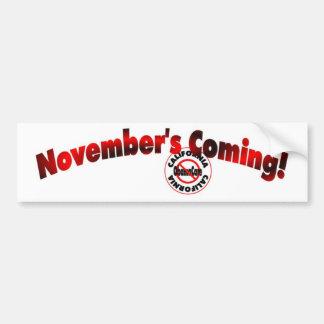 California Anti ObamaCare – November's Coming! Bumper Sticker