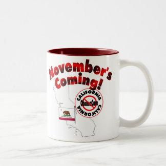 California Anti ObamaCare – November's Coming! Two-Tone Coffee Mug