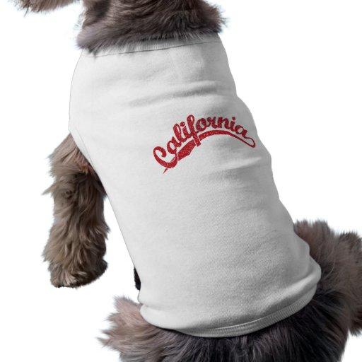 California apenó el logotipo de la escritura en ro camisas de perritos