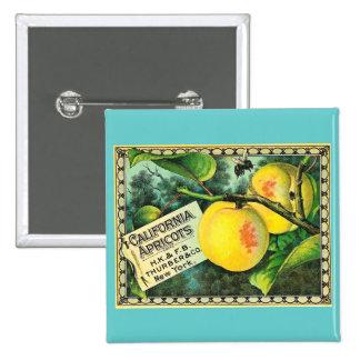 California Apricots - Vintage Crate Label Pinback Button