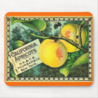 California Apricots - Vintage Crate Label Mouse Pad