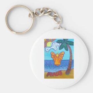 California Beach Angel Keychain